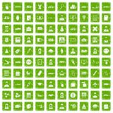 100 initiation icons set grunge green Royalty Free Stock Image