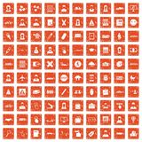 100 initiation icons set grunge orange. 100 initiation icons set in grunge style orange color isolated on white background vector illustration Royalty Free Stock Photography
