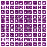 100 initiation icons set grunge purple. 100 initiation icons set in grunge style purple color isolated on white background vector illustration Stock Photography