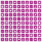 100 initiation icons set grunge pink. 100 initiation icons set in grunge style pink color isolated on white background vector illustration Stock Photography