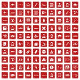 100 initiation icons set grunge red. 100 initiation icons set in grunge style red color isolated on white background vector illustration Royalty Free Stock Images