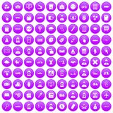 100 initiation icons set purple. 100 initiation icons set in purple circle isolated vector illustration Vector Illustration