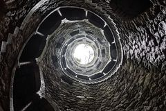 The Initiation Well bottom view. Bottom up view of the Initiation Well in Sintra Stock Image