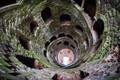 The Initiation well of Quinta da Regaleira in Sintra, Portugal in black and white , downside view. Stock Photo