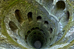 The Initiation well of Quinta da Regaleira in Sintra, Portugal. It's a 27 meter staircase that leads straight down underground and Stock Images