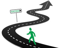 Initiative begin journey highway curves to success. Person with initiative to begin a journey on curvy highway to success and bright future Stock Photography