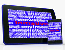 Initiative Tablet Means Motivation Leadership And Taking Action Royalty Free Stock Photography