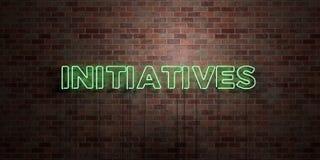 INITIATIVES - tube au néon fluorescent connectez-vous la brique - vue de face - photo courante gratuite de redevance rendue par 3 illustration libre de droits