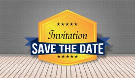 Inivitation save the date badge in 3D room view Royalty Free Stock Photography