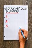 Inizi il mio proprio concetto di affari sul libro di per la matematica Fotografia Stock Libera da Diritti