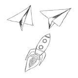 Inizi, su, lancio, il vettore, l'illustrazione, l'insieme, schizzo Fotografie Stock Libere da Diritti
