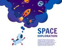 Inizi sul concetto di affari ed idea dell'esplorazione, arte di vettore ed i illustrazione di stock