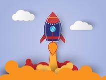 Inizi sul concetto di affari volo sull'aria, carta del razzo Immagini Stock Libere da Diritti