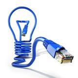 Inizi sul concetto di idea di affari di Internet Lampadina e cabl di lan Immagini Stock