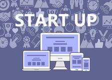 Inizi sul manifesto delle icone del profilo messe Immagine Stock