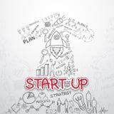 Inizi sul testo, con i grafici creativi del disegno e rappresenta graficamente l'idea di piano di strategia di successo di affari Immagini Stock Libere da Diritti