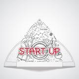 Inizi sul testo, con i grafici creativi del disegno e rappresenta graficamente l'idea di piano di strategia di successo di affari Fotografie Stock