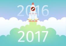 Inizi sulla mosca del razzo e porti il colpo del nuovo anno 2017 fino al 2016 Concetto di affari royalty illustrazione gratis