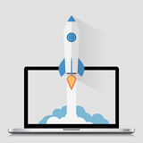 Inizi sulla progettazione piana moderna di Roket dello spazio di concetto Immagine Stock
