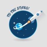 Inizi sulla progettazione piana moderna di Roket dello spazio di concetto Fotografia Stock