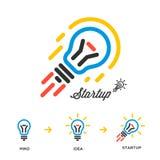 Inizi sulla rete di concetto di affari, lampadina-razzo Immagini Stock