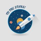Inizi sullo spazio Rocket Modern Flat Design di concetto Immagini Stock Libere da Diritti