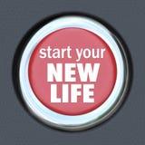 Inizi un nuovo inizio di risistemazione della stampa del bottone rosso di vita Fotografia Stock Libera da Diritti