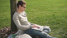 Inizio americano dello sviluppatore della brunetta che lavora al progetto, sedentesi con il computer video d archivio