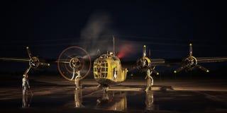 Inizio del motore del bombardiere pesante del liberatore B-24 Fotografie Stock