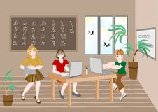 Inizio dell'anno scolastico. Illustrazione. Fotografie Stock Libere da Diritti