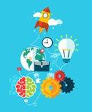 Inizio di affari, Rocket Launch Concept Movement di lavoro del Proce Fotografie Stock