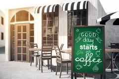Inizio di buon giorno con caffè royalty illustrazione gratis