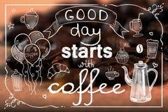 Inizio di buon giorno con il contesto del caffè fotografia stock