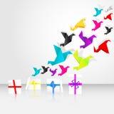 Inizio di Origami da volare dai contenitori di regalo Immagini Stock Libere da Diritti