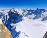 Inizio di Vallee Blanche come visto da Aiguille du Midi Immagini Stock Libere da Diritti