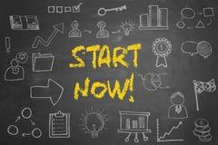 Inizio ora! concetto di affari sulla lavagna Immagine Stock