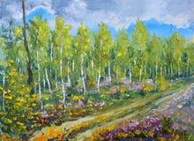 Inizio originale della pittura a olio dell'autunno nella foresta Immagine Stock