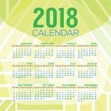 2018 inizio stampabili domenica del calendario illustrazione di stock