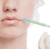 Injeção cosmética do botox na face Imagens de Stock