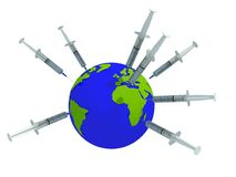 Inject the world. Globe with syriges to illustrate vaccination Stock Images