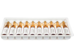 Injectable ampule medicine pack. Show medicine concept royalty free stock photography