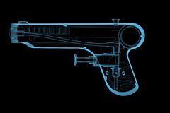 Injectez l'arme à feu (transparents bleus de rayon X 3D) Photographie stock libre de droits