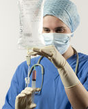 Nurse injecting medicine into infusion Royalty Free Stock Photography