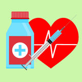 Injection of adrenaline to heart. Medical cure for health heart. Vector illustration Royalty Free Stock Photography