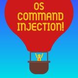 Injection d'OS Comanalysisd des textes d'écriture Technique d'attaque de signification de concept utilisée pour l'exécution illég illustration libre de droits