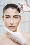 Injection in the eyebrow Royalty Free Stock Photos