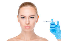 Injection femelle de botox photo stock
