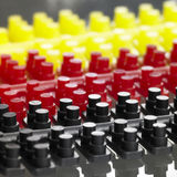 Injection molded plastic pieces stock photography