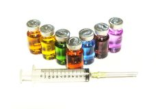 Injection needle syringe and vials with medicine Stock Photography