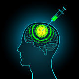 The injection syringe into the brain of truth serum, brainwashin Royalty Free Stock Photo
